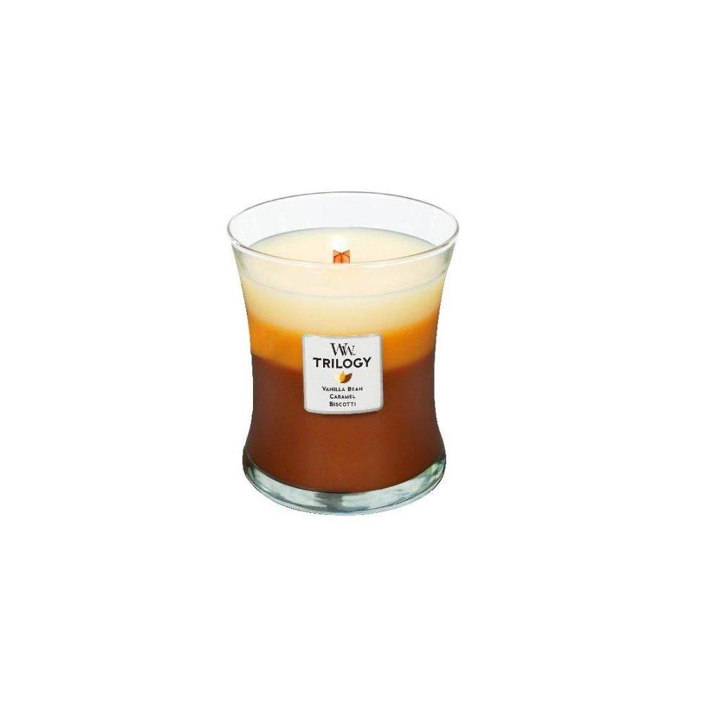 WoodWick - vonná svíčka Cafe Sweets Trilogy (Dezert k kavárně) 275g