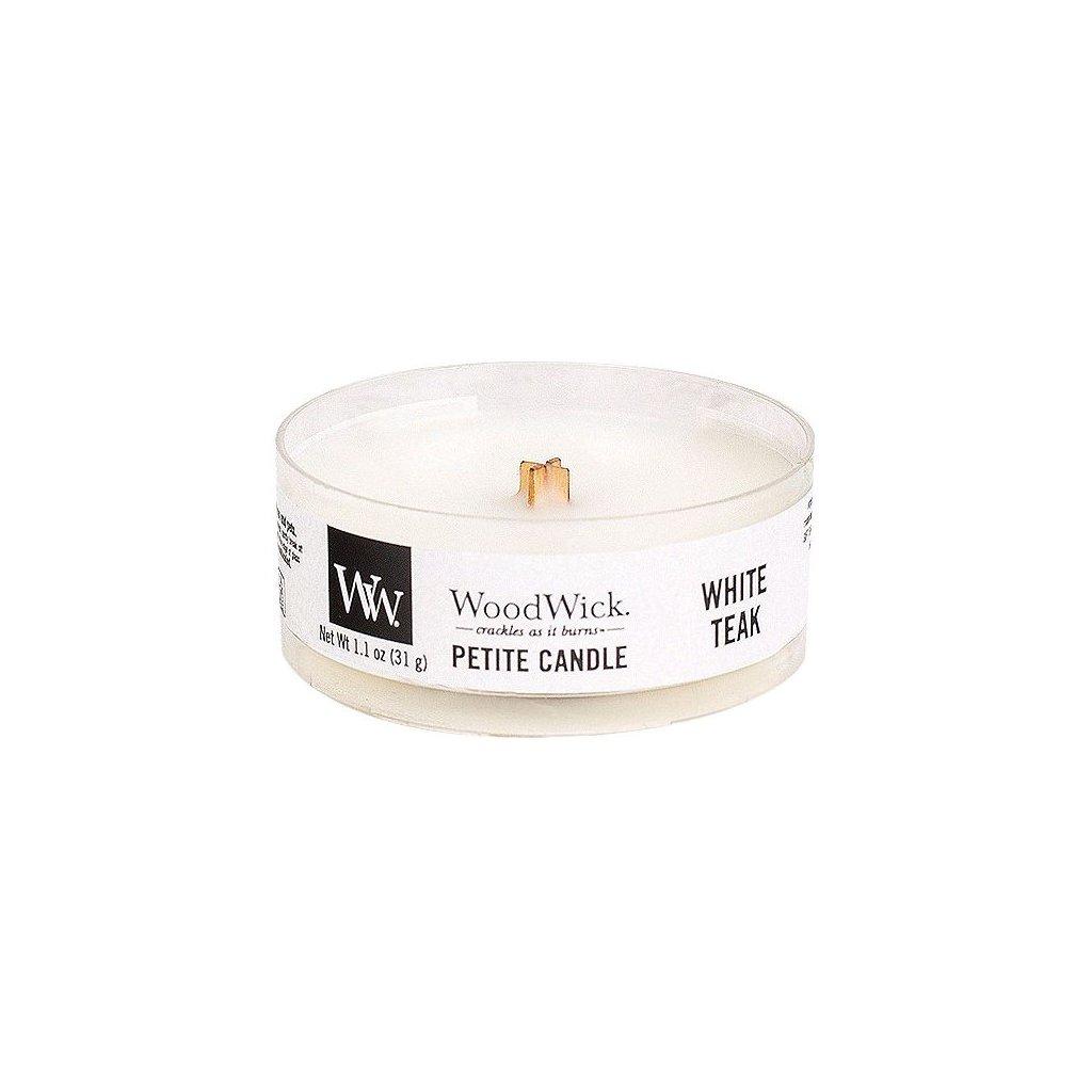 WoodWick - vonná svíčka Petite, White Teak (Bílý teak) 31g