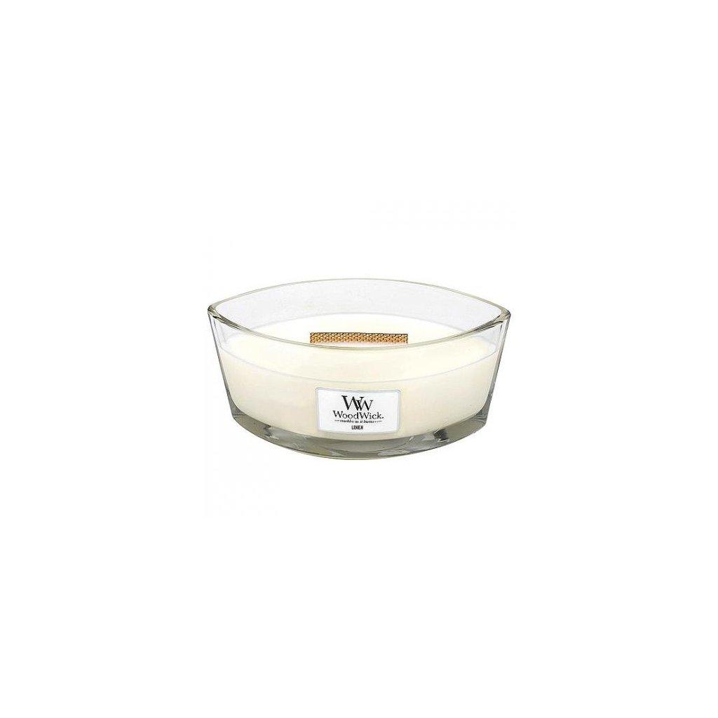 WoodWick - vonná svíčka Linen (Čisté prádlo) 453g