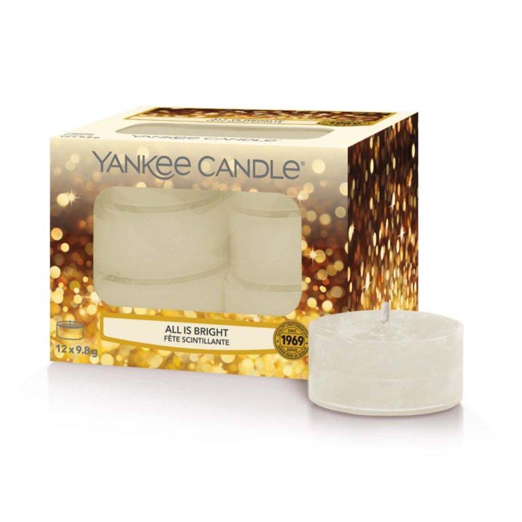 Yankee Candle - čajové svíčky All Is Bright (Všechno jen září) 12 ks