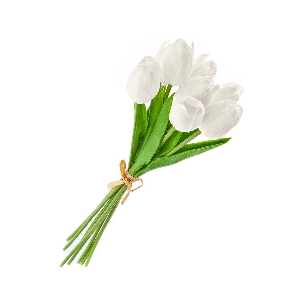 Umělá květina, tulipán bilý 8 ks