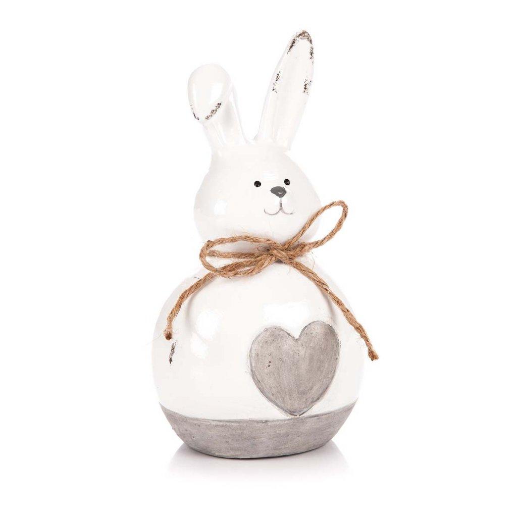 Velikonoční zajíček se srdíčkem, keramický 15 cm