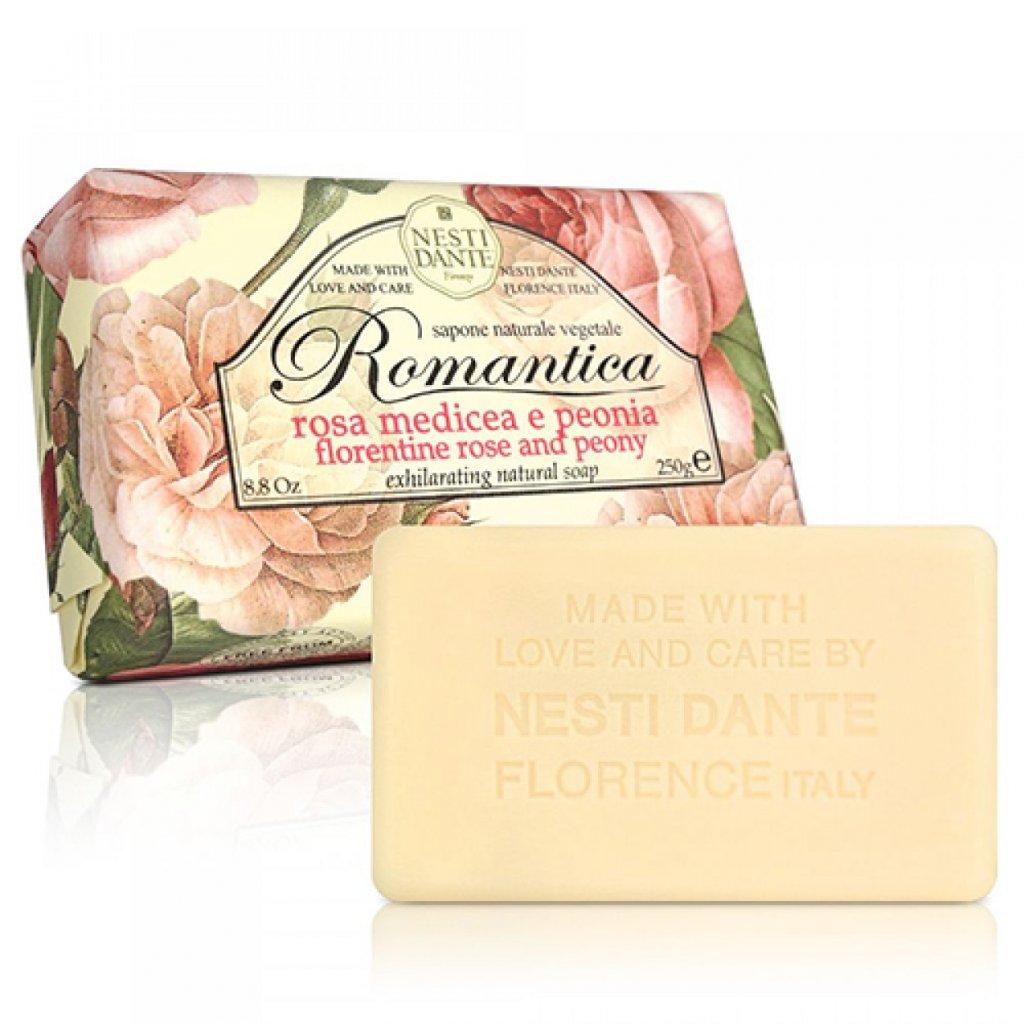 Nesti Dante - přírodní mýdlo Romantica, Růže s pivoňkou 250g