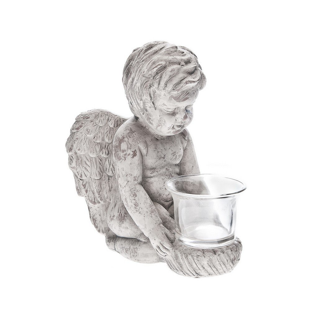 Svícen anděl keramický, 18 cm