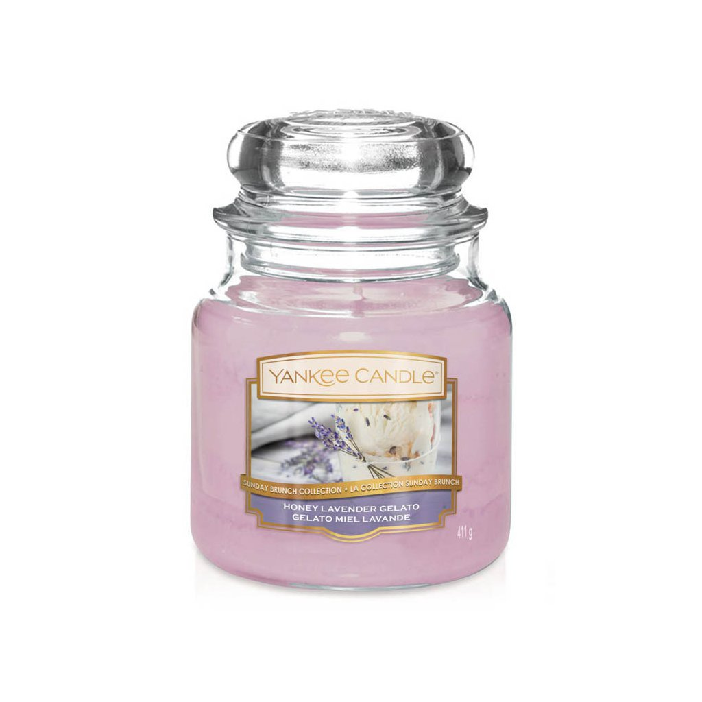Yankee Candle - vonná svíčka Honey Lavender Gelato 411g