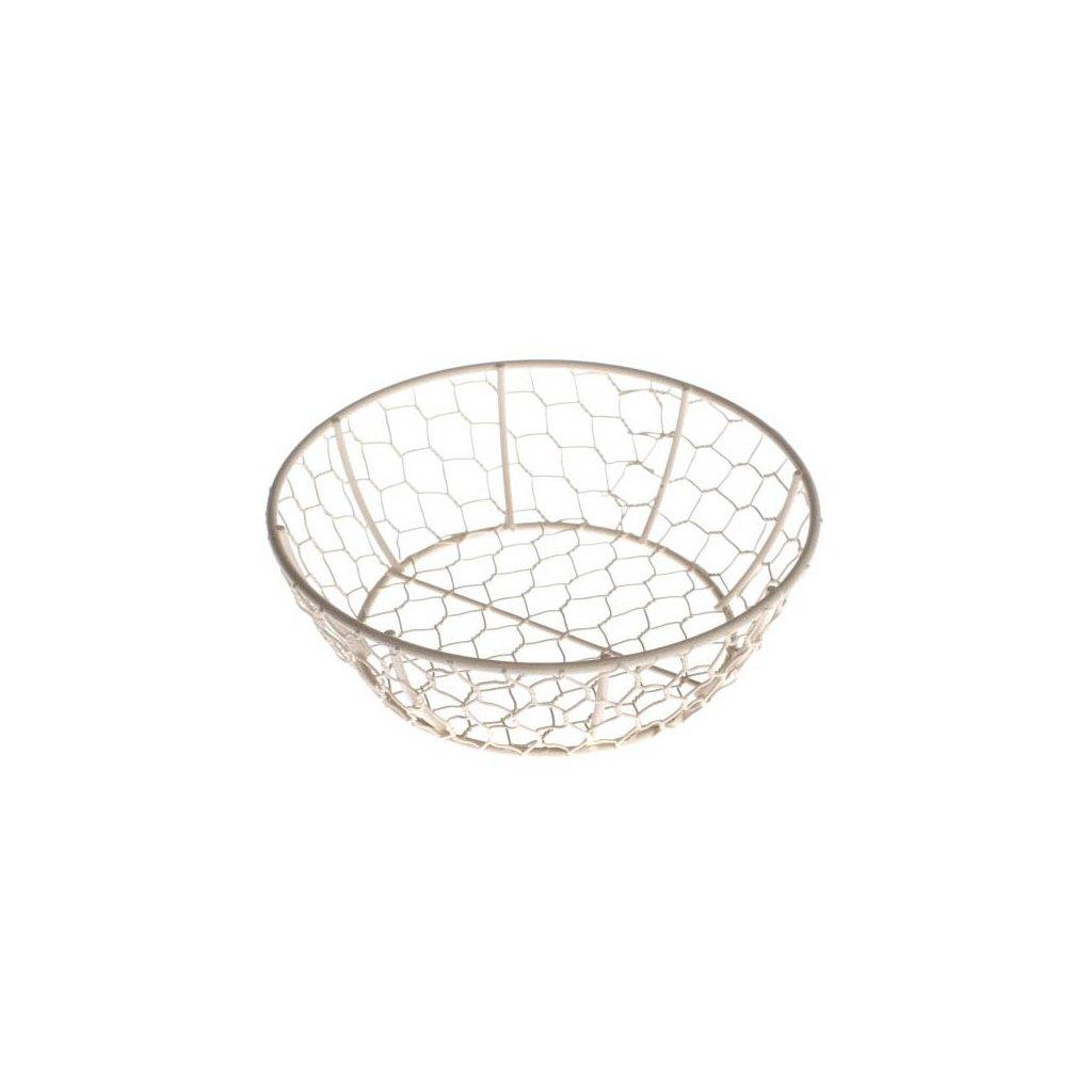 Casa de Engel - kovový košík kulatý, krémový 18x6 cm