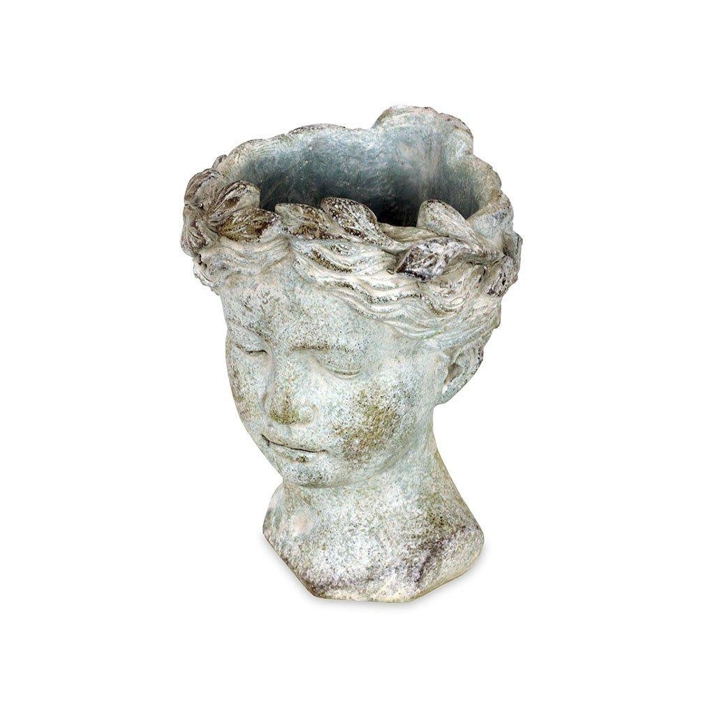 Květináč ve tvaru hlavy, betonový 21 cm