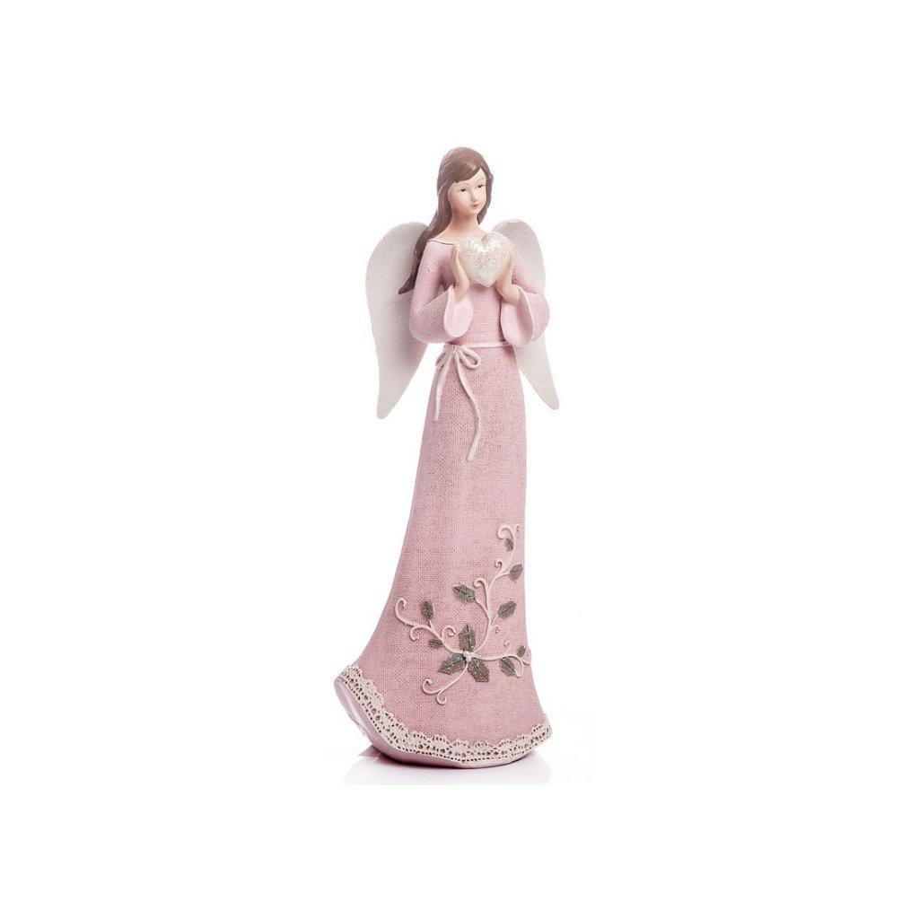 Anděl se srdcem, růžový 32 cm