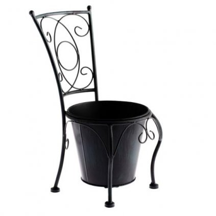 Casa de Engel - kovový květináč ve tvaru židle, černý