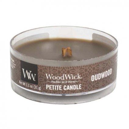 WoodWick - vonná svíčka Petite, Oudwood (Pryskyřice) 31g