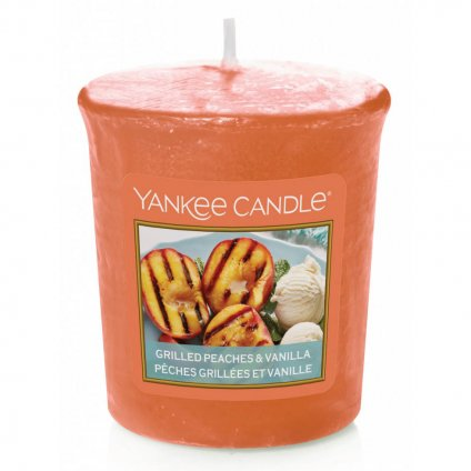 Yankee Candle - votivní svíčka Grilled Peaches & Vanilla (Grilované broskve a vanilka) 49g