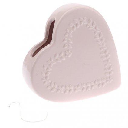Keramický zvlhčovač na radiátor, srdce velké růžové