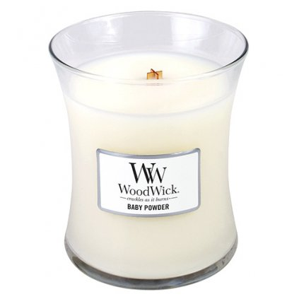 WoodWick  - vonná svíčka Baby Powder (Dětský pudr) 275g