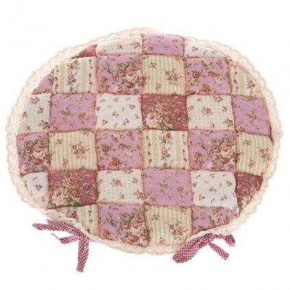 Casa de Engel - podsedák patchwork růžový, kulatý 40x40 cm