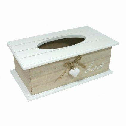 Box na kapesníky Love se srdíčkem, dřevěný