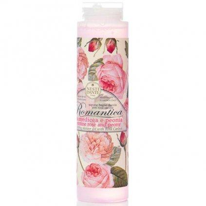 Nesti Dante - přírodní sprchový gel Romantica, Růže s pivoňkou 300 ml
