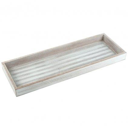 Tác dřevěný světle šedý s patinou 40x14 cm