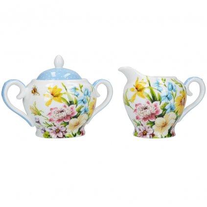 Katie Alice - porcelánová mléčenka a cukřenka English Garden