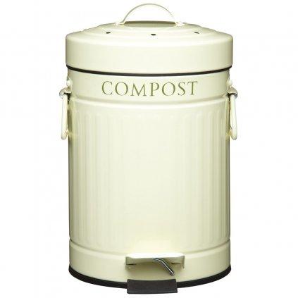 Kitchen Craft - plechový kompostér, pedálový krémový