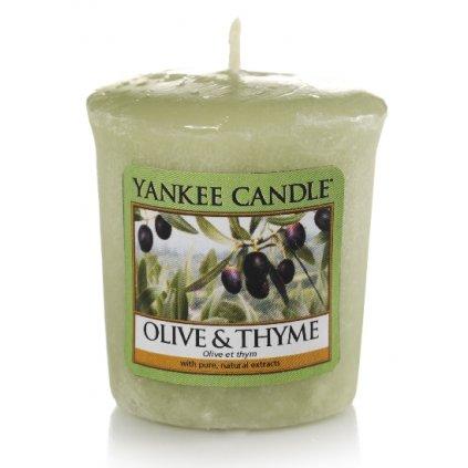 Yankee Candle - votivní svíčka Olive & Thyme (Olivy a tymián) 49g
