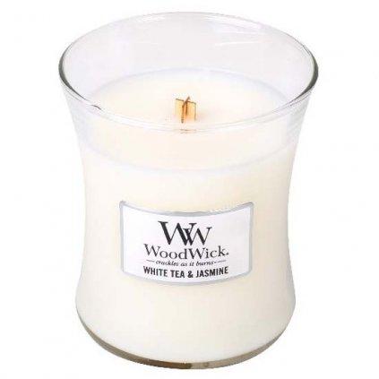 WoodWick - vonná svíčka White Tea & Jasmine (Bílý čaj a jasmín) 275g