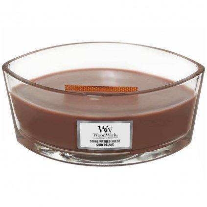 WoodWick - vonná svíčka Stone Washed Suede (Sepraný semiš) 453g