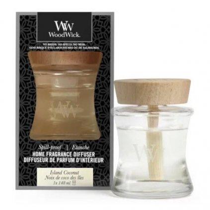 WoodWick - aroma difuzér Island Coconut (Kokosový ostrov) s víčkem proti vylití 148 ml