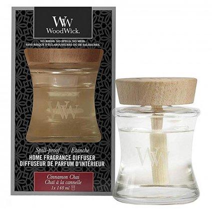 WoodWick - aroma difuzér Cinnamon Chai (Skořice a vanilka) s víčkem proti vylití 148 ml