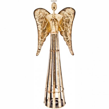 Anděl Patin s trubkou, svícen plechový zlatý 80 cm