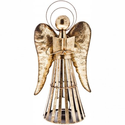 Anděl Patin s knihou, svícen plechový zlatý 40 cm