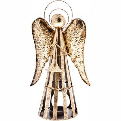 Anděl Patin s trubkou, svícen plechový zlatý 35 cm