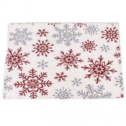 Casa de Engel - prostírání, vánoční s vločkami červené 33×48 cm