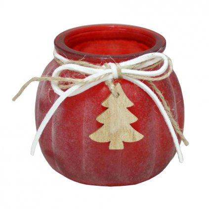 Svícen červený se stromečkem na čajovou nebo votivní svíčku, výška 7 cm