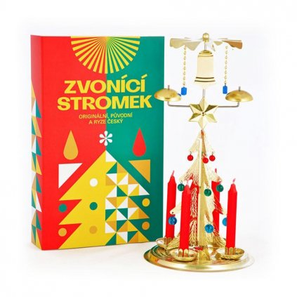 Zvonící stromek zlatý, andělské zvonění české výroby