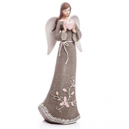Anděl se srdcem, šedý 32 cm