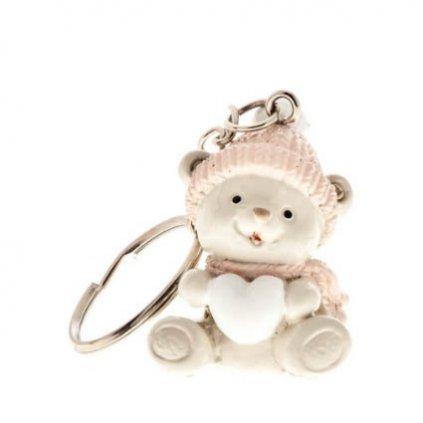 Přívěsek na klíče - medvídek s růžovou čepicí