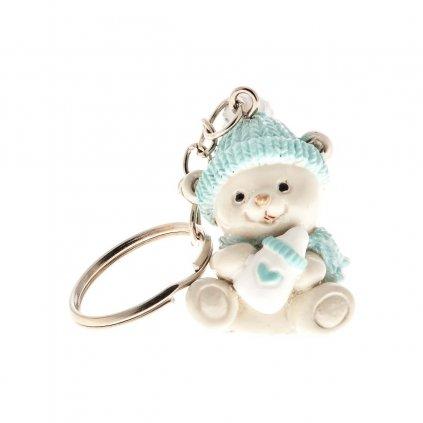 Přívěsek na klíče - medvídek se modrou čepicí
