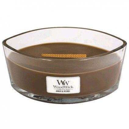 WoodWick - vonná svíčka Amber & Incense (Ambra a kadidlo) 453g