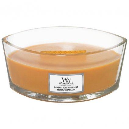 WoodWick - vonná svíčka Caramel Toasted Sesame (Opečený karamelový sezam) 453g