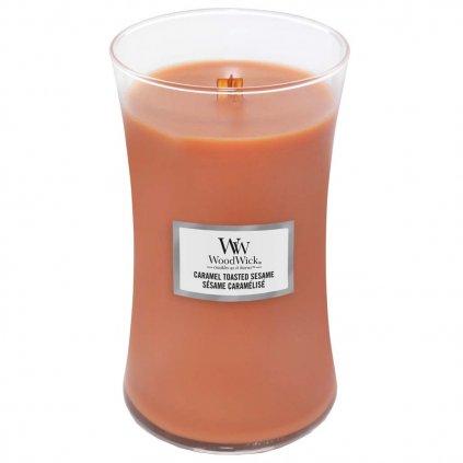 WoodWick - vonná svíčka Caramel Toasted Sesame (Opečený karamelový sezam) 609g