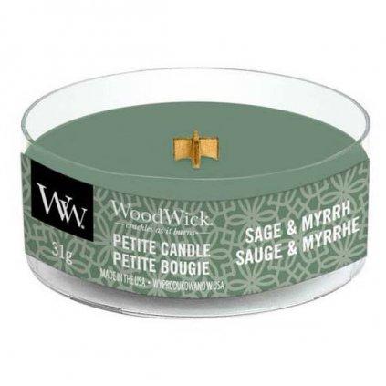 WoodWick - vonná svíčka Petite, Sage & Myrth (Šalvěj a myrha) 31g
