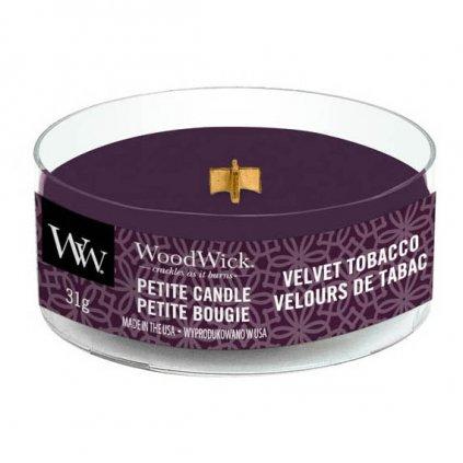 WoodWick - vonná svíčka Petite, Velvet Tobacco (Sametový tabák) 31g