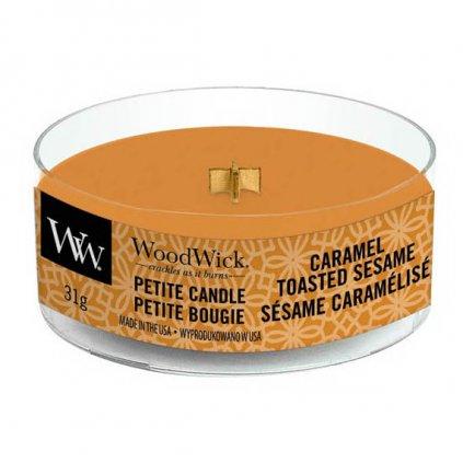WoodWick - vonná svíčka Petite, Caramel Toasted Sesame (Opečený karamelový sezam) 31g