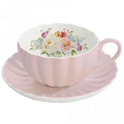 Easy Life - porcelánový šálek s podšálkem Royal na espresso, růžový 100 ml, sada 2 ks