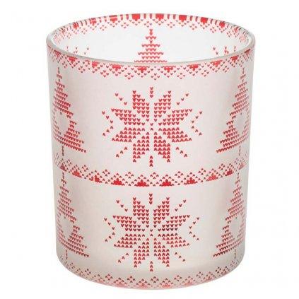 Yankee Candle - Red Nordic Frosted Glass svícen na votivní svíčku