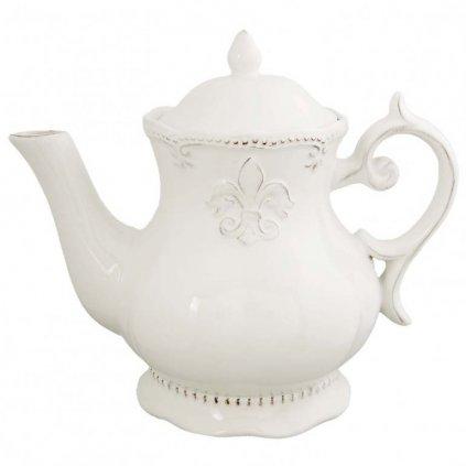 Clayre & Eef - porcelánová konvice na čaj Franse Lelie, 1,1 l