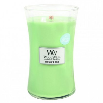 WoodWick - vonná svíčka Máta & bazalka 609g