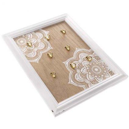 Casa de Engel - dřevěný věšák na klíče s mandalou 25x32 cm