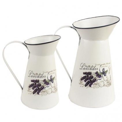 Džbánky Lavender, plechové různé velikosti