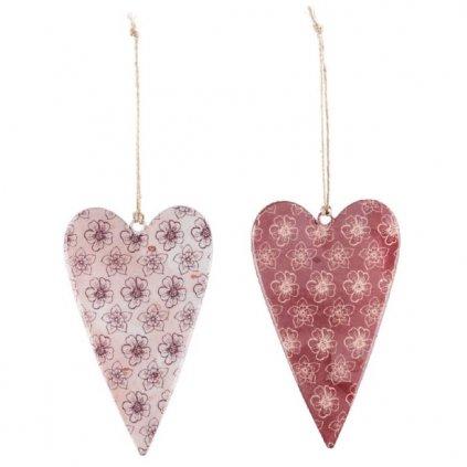 Srdce závěsné starorůžové, kovová dekorace